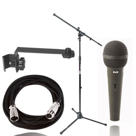 On-Stage Stands MS7701B Euro Boom Mic Stand+CAD Cardioid Mic+Mic Ext (Mic Boom Attachment)