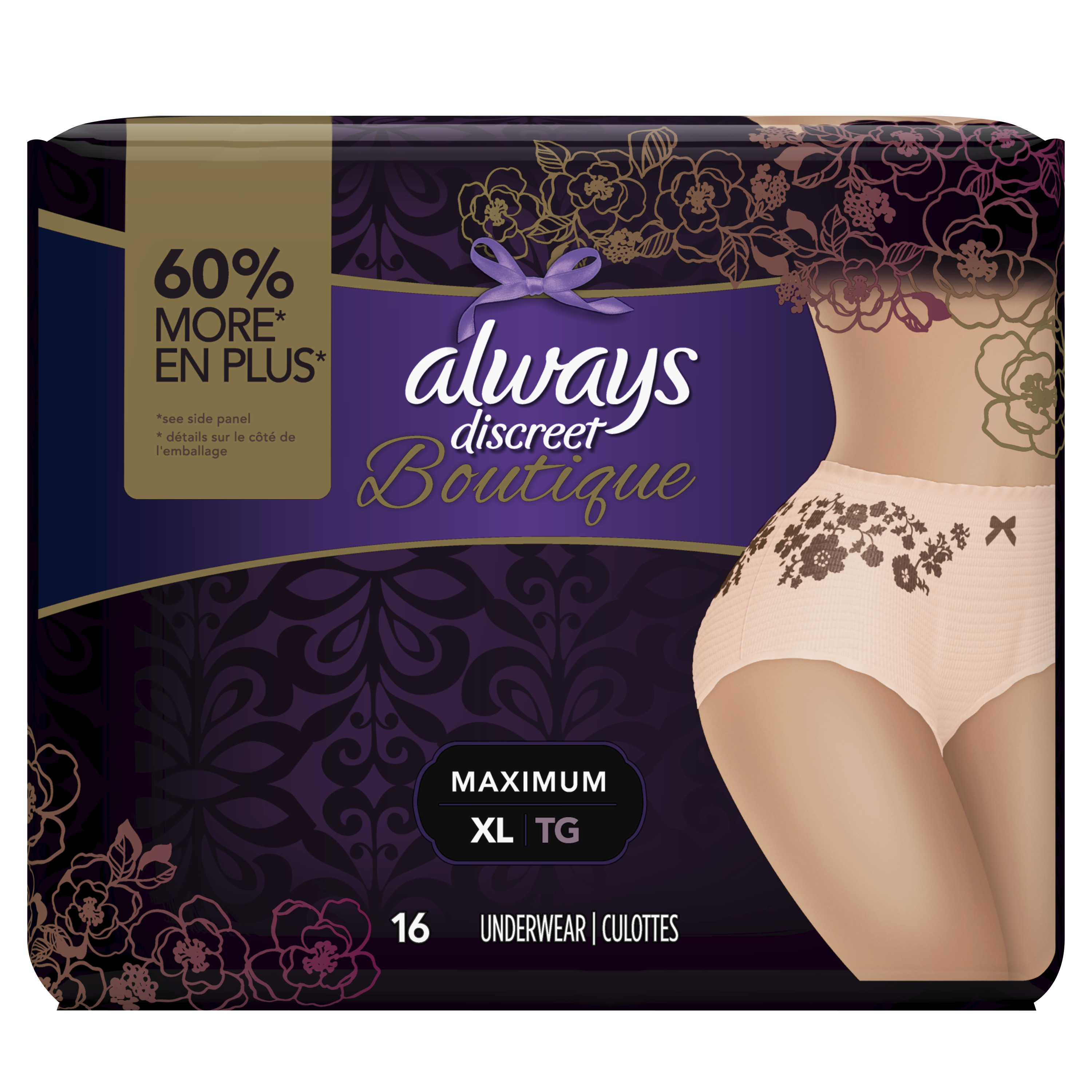 Always Discreet Boutique, Incontinence Underwear for Women, Maximum Protection, Peach, XL, 16 Count