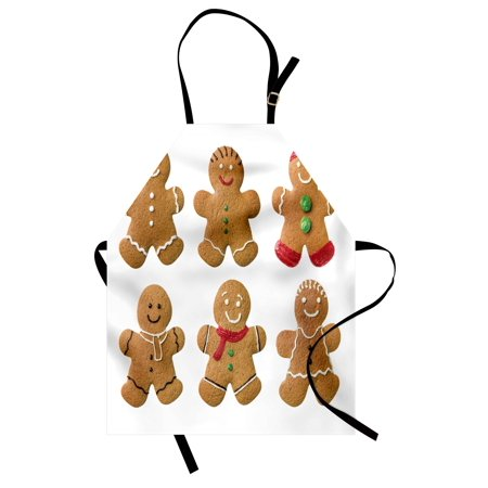 Gingerbread Man Apron Vivid Homemade Biscuits Sugary Xmas Treats Sweet Tasty Pastry, Unisex Kitchen Bib Apron with Adjustable Neck for Cooking Baking Gardening, Pale Brown Red Green, by Ambesonne
