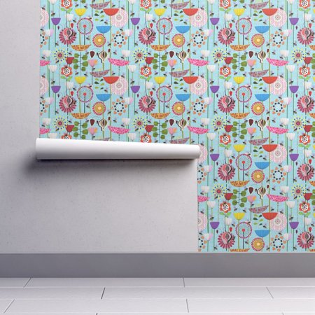 Removable Water-Activated Wallpaper Spring Pollinators Bumblebees Flowers