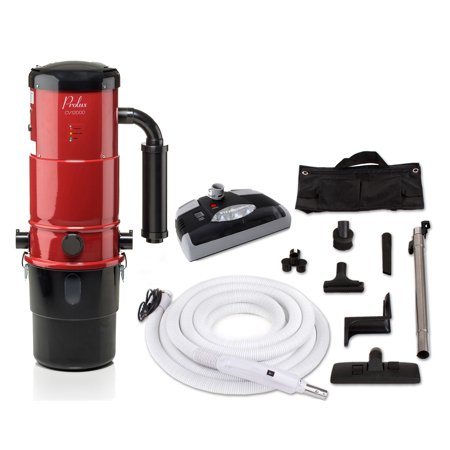 Red Prolux CV12000 Central Vacuum Unit System with Electric Hose Power Nozzle Kit and 25 Year Warranty (Airvac Central Vacuum Accessories)