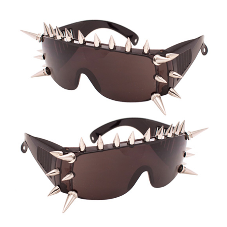Spike Frame Sunglasses Black Large Tinted Stud Robot Punk Glasses - Large Novelty Sunglasses