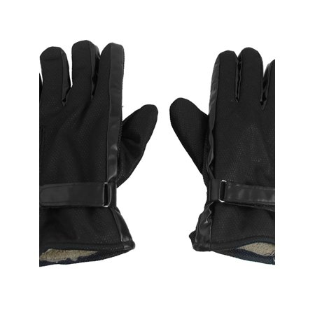 Unique Bargains Men Antislip Dotted Design Hook Loop Fastener Warmer Gloves Black](Hoof Gloves)