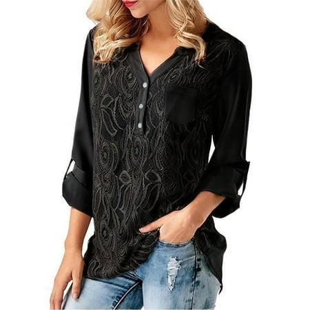 ba8567efff1d Fresh look - Women Tops Sexy V-neck Casual Tops Chiffon Pullover Shirts  Solid Color Loose Top Long Sleeve Shirt Fashion Irregular Blouse -  Walmart.com