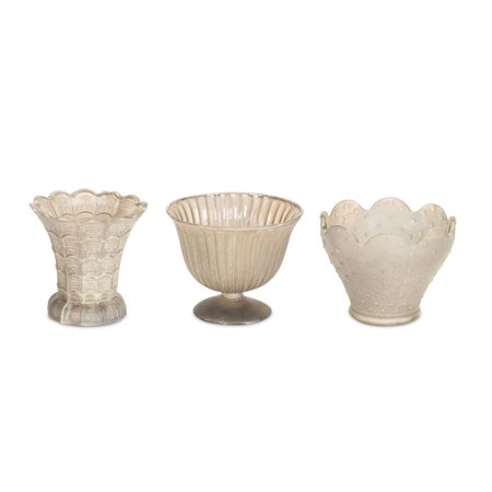 Set of 18 Antique Inspired Geometric Pattern Assorted Mini Clear Glass Urns 4.5