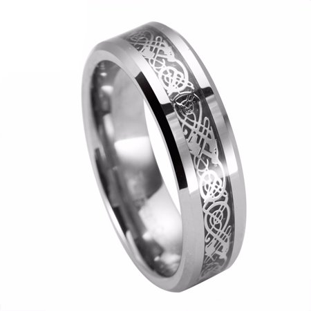 6mm For Men or Ladies - Celtic Knot Dragon over Black Carbon Fiber Inlay Tungsten Carbide Wedding Band