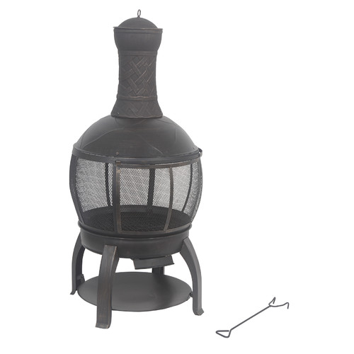 Shinerich Cast iron Wood Burning Chiminea by Ace Trading - Outdoor Firepits