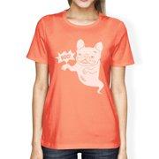 Boo French Bulldog Womens Peach Round Neck Funny Halloween Tshirt