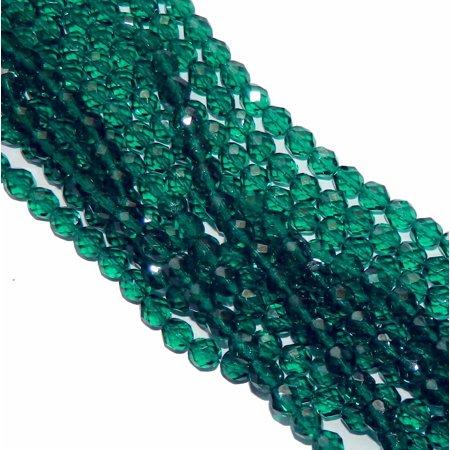 48 Firepolish Faceted Czech Glass, Loose Beads, 4mm Emerald