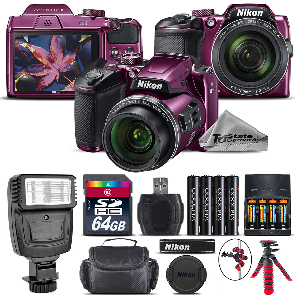 Nikon COOLPIX B500 Digital Camera (Plum) - Kit C