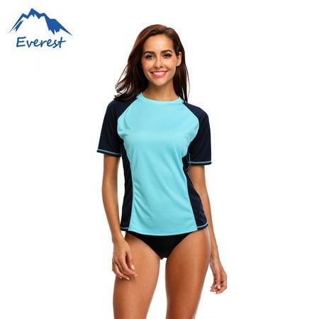Hurley Rash Guard - FeelGlad  Plus Size Short Sleeve Swimming Shirt Athletic Swimwear Top Women's Swim Shirt  Swim Tee Rashguard Top, Blue