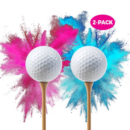 Baby Gender Reveal Exploding Golf Balls | 2-PACK Pink Ball and Blue Ball | Gender Reveal Smoke Bombs | Gender Reveal Party Supplies | Golf Ball Set | Baby Gender Reveal Party Supplies | Reveal Powder