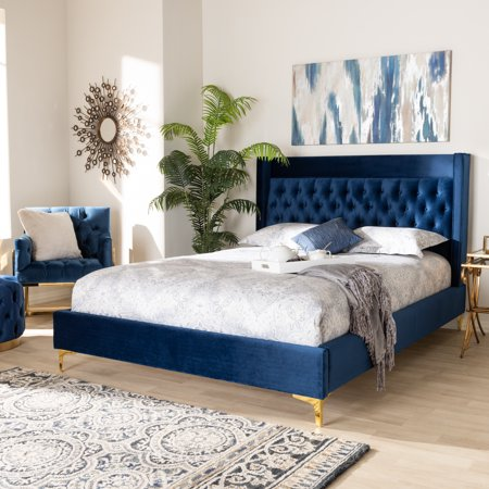Baxton Studio Valery Modern and Contemporary Navy Blue Velvet Fabric Upholstered King Size Platform Bed with Gold-Finished