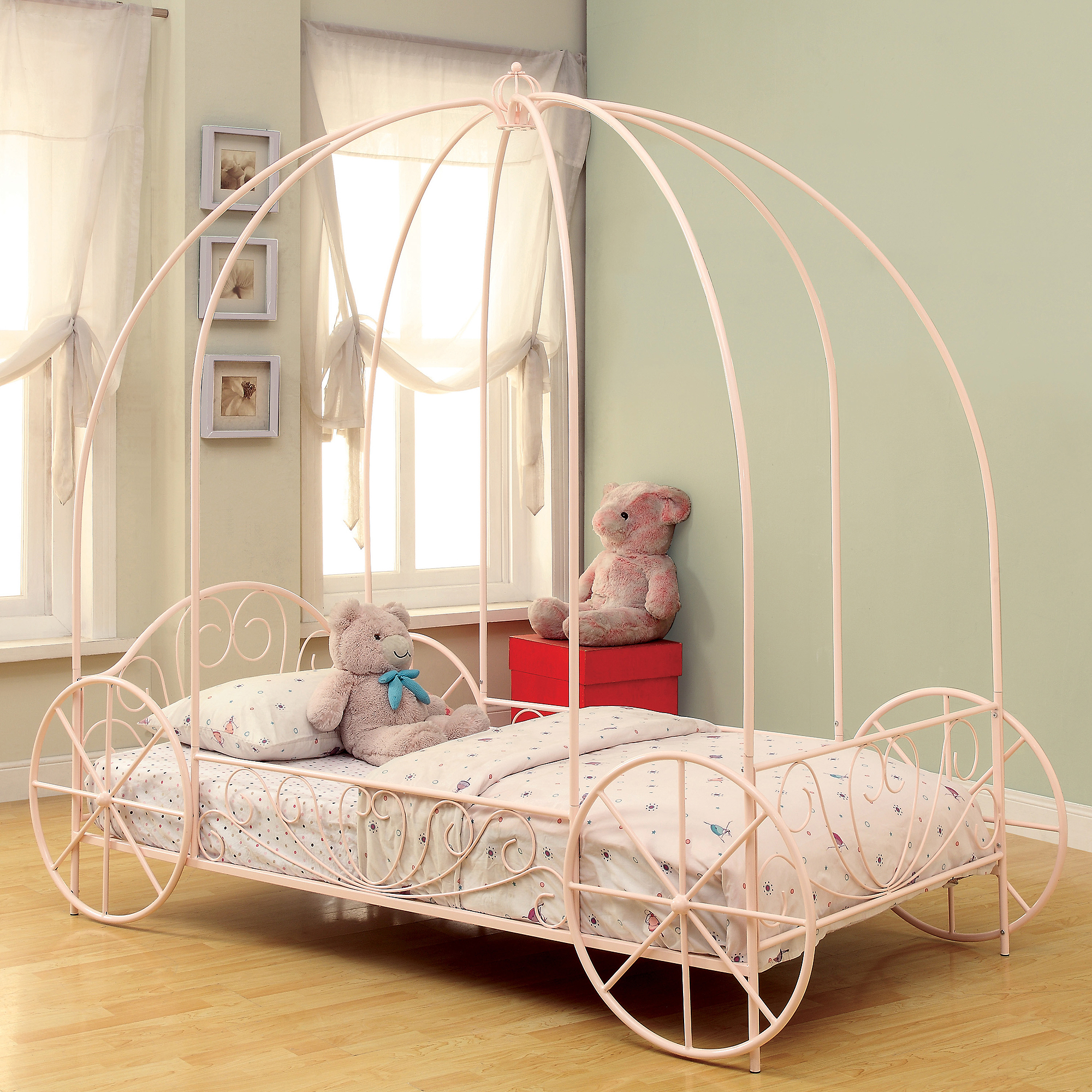 Coaster Company Massi Twin Canopy Bed, Powder Pink