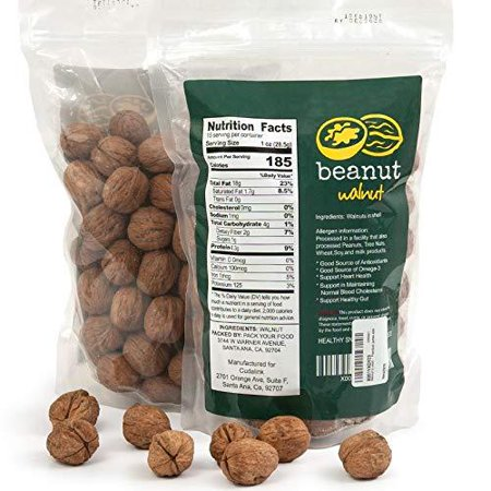 beanut |Premium Californian Raw Walnuts in shell| 2 lb.|English shelled walnuts jumbo size.by CudaLink