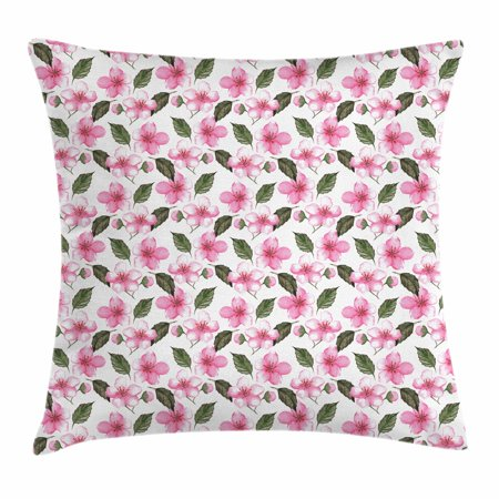 Fl Throw Pillow Cushion Cover Sakura The Cherry Blossom Flowers With Leaves Watercolor Design
