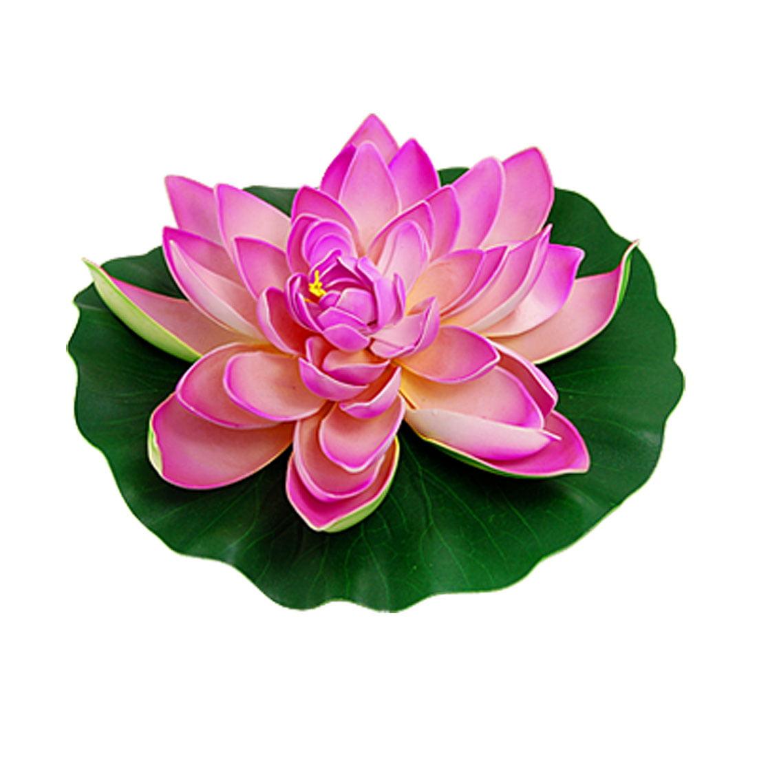 Unique Bargains Aquarium Decoration Green Leaf Pink Lotus Flower Plants