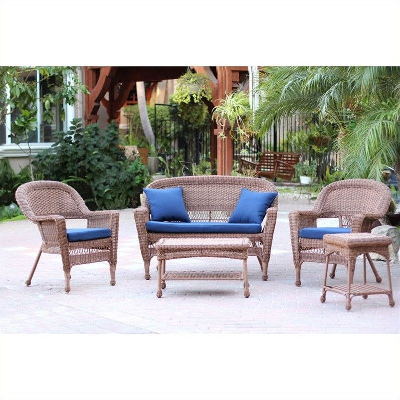 Jeco 5pc Wicker Conversation Set in Honey with Blue Cushions