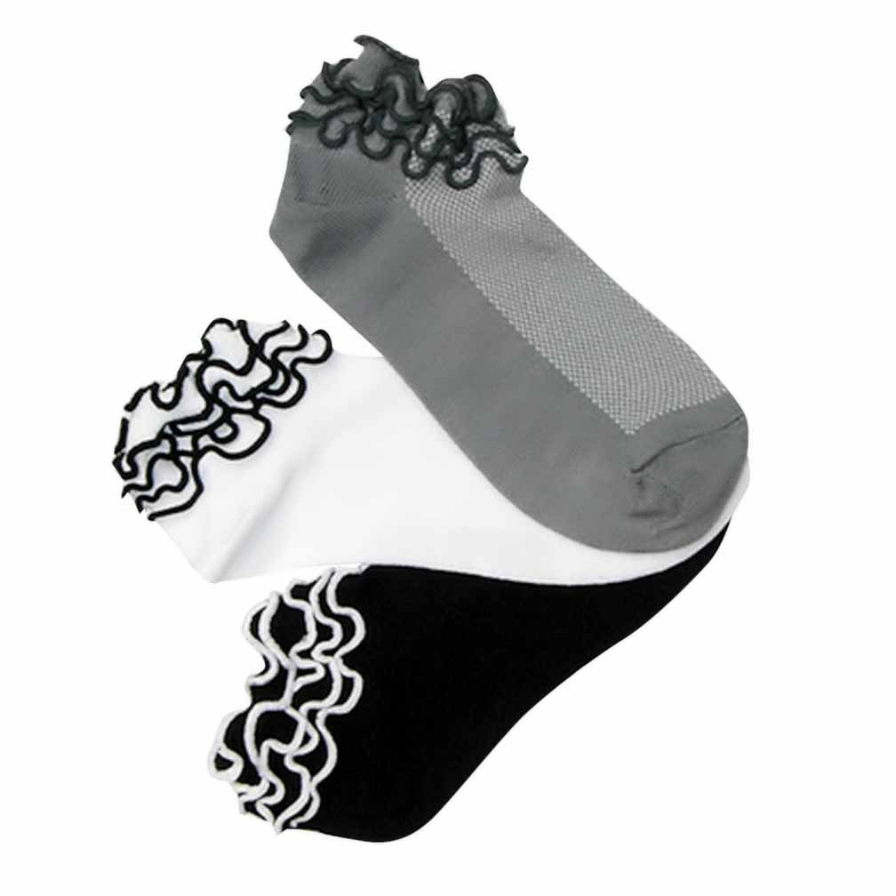 Luxury Divas Black White & Gray 3 Pack Ruffled Shorty Ankle Socks