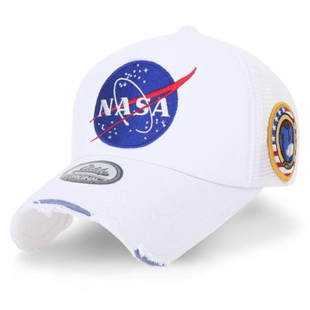 457eb06d417 ililily NASA Meatball Logo Embroidery Baseball Cap Apollo 1 Patch Trucker  Hat