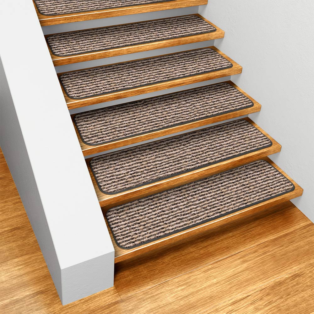 Set of 15 Skid-resistant Carpet Stair Treads - Black Ripple - 8 In. X 23.5 In. - Several Other Sizes to Choose From