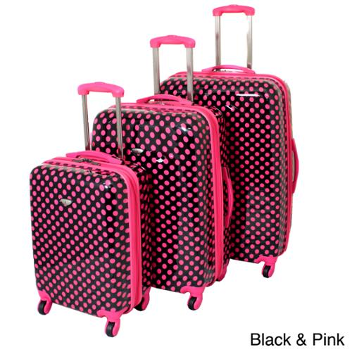 American Travel 3-piece Polka Dot Expandable Lightweight Hardside Spinner Luggage Set with TSA Lock Black and Pink Polka Dot