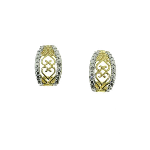 Diamond Accent 10kt Gold over Sterling Silver Filigree Stud Earrings