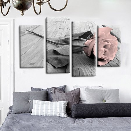 Unframed 4Pcs Floral Rose Landscape Canvas Wall Art Oil Painting Picture Print Home Decor Gift Art Oil Painting Canvas
