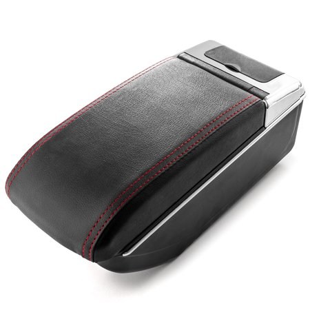 Car Armrest Center Console Box Storage Black Handrest For Nissan Juke 2010-2017 - Black Leather Red Stitching - Double Storage Space, Adjustable Cup Holder, Rear Ashtray / Change Holder