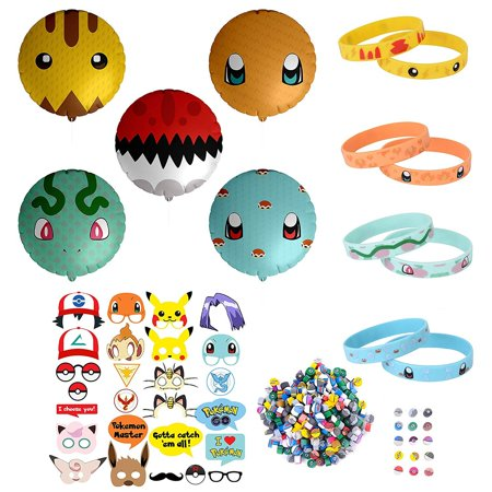 343 pcs Party Favor Supply Mega Pack for Pokemon Theme Party - Includes Pokemon Inspired Balloons, Bracelets, Erasers, and Props - Perfect Stocking Stuffer](Christmas Party Theme Ideas)