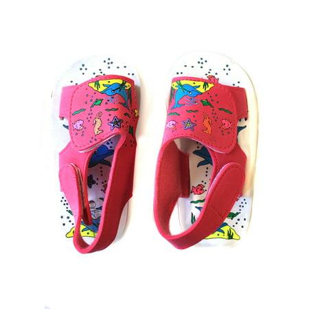 Hawaiian Print Ocean Dolphin Sea Horses Star Fish Girl Sandals with Fastners in Pink 9](Girls In Birkenstocks)