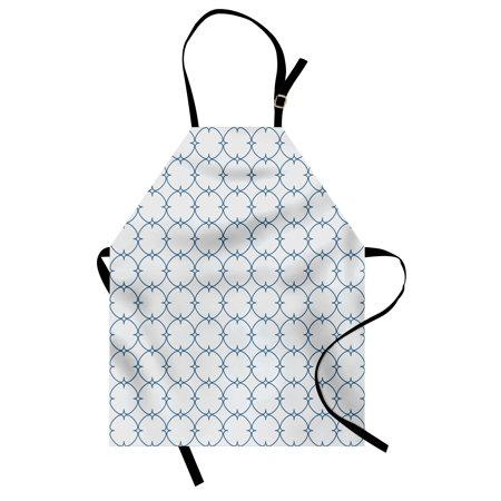 Vintage Apron Diagonal Checkered Squares with Delicate Elliptic Details Simplistic Retro Design, Unisex Kitchen Bib Apron with Adjustable Neck for Cooking Baking Gardening, Blue White, by Ambesonne ()