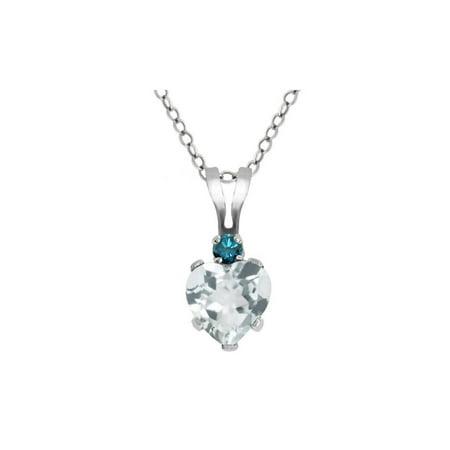 (0.41 Ct Heart Shape Sky Blue Aquamarine Blue Diamond 925 Sterling Silver Pendant)