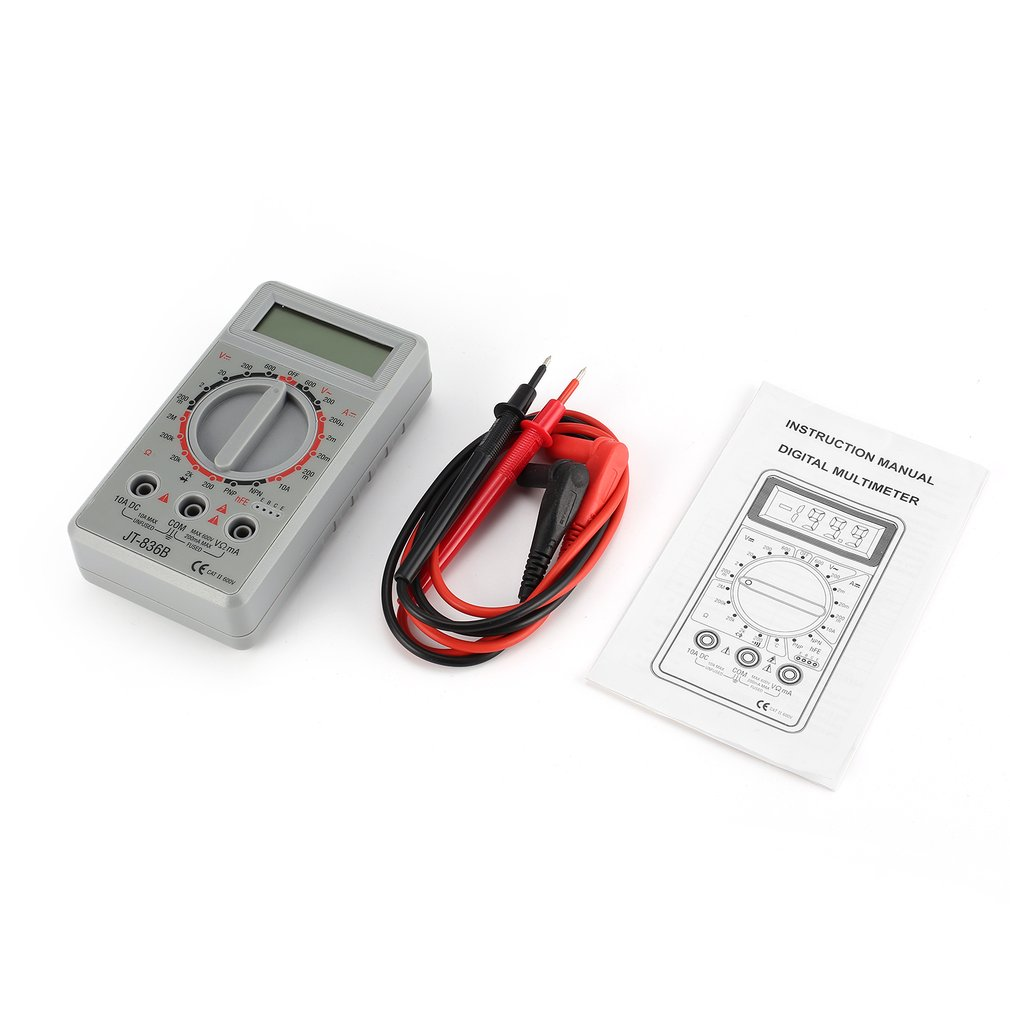 Jt 836b Mini Handheld Digital Multimeter 1999 Counts Ac Dc Volt Amp Lcd Voltmeter Ammeter Ohm Circuit Checker Diode Hfe Tester Ohmmeter