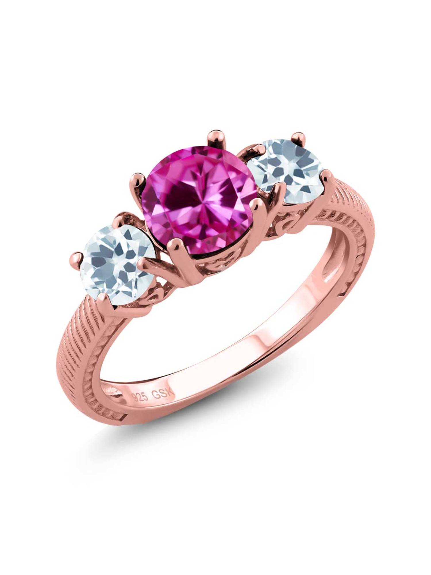 2.46 Ct Pink Created Sapphire Sky Blue Aquamarine 18K Rose Gold Plated Silver 3 Stone Ring by