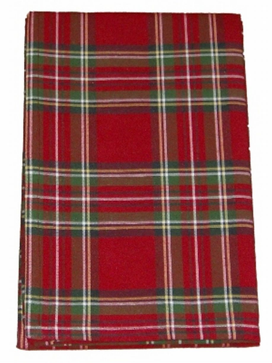 Holiday Home Red Tartan Plaid Tablecloth Fabric Table Cloth 60x84 Ob