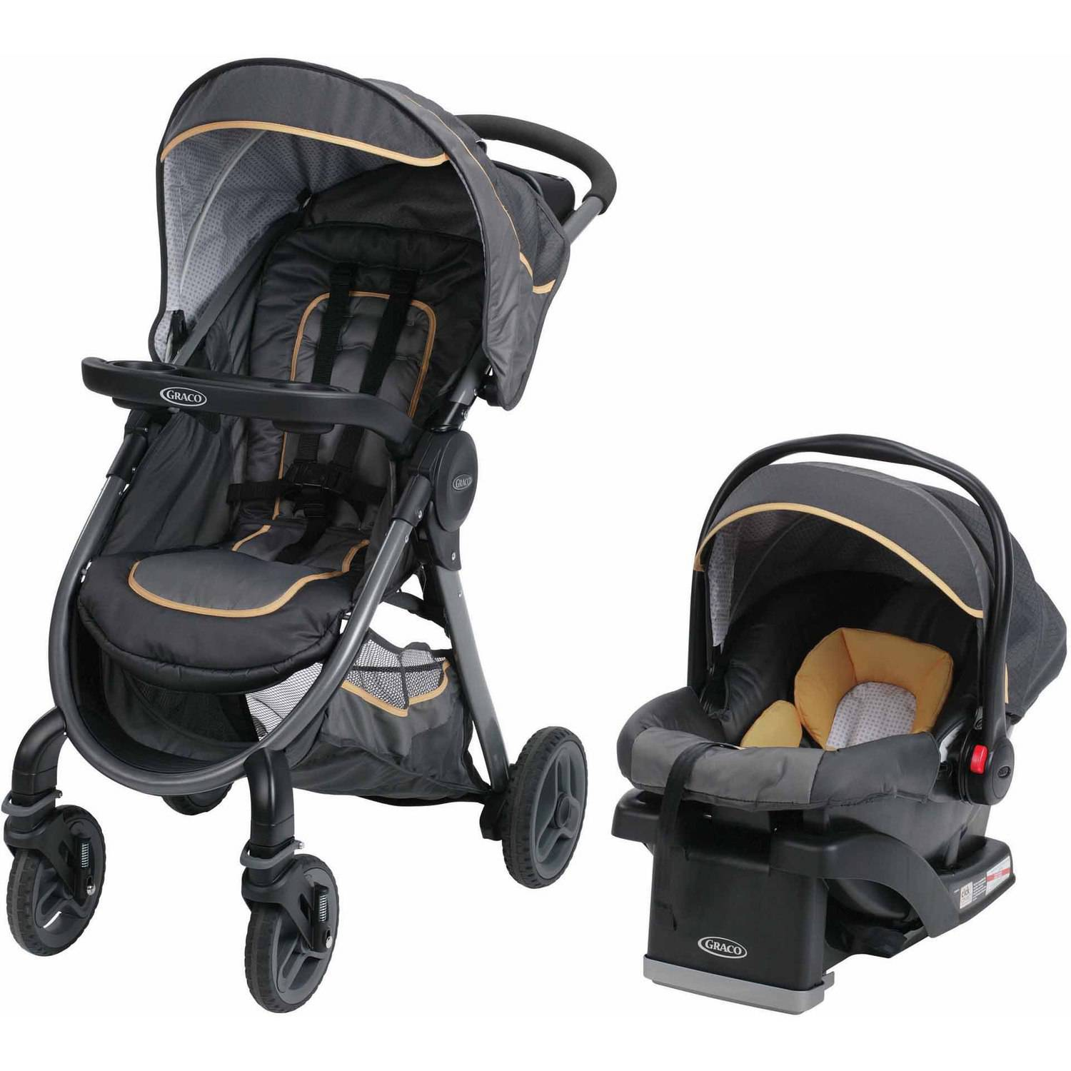 Graco FastAction Fold 2.0 Click Connect Travel System Stroller, Sunshine