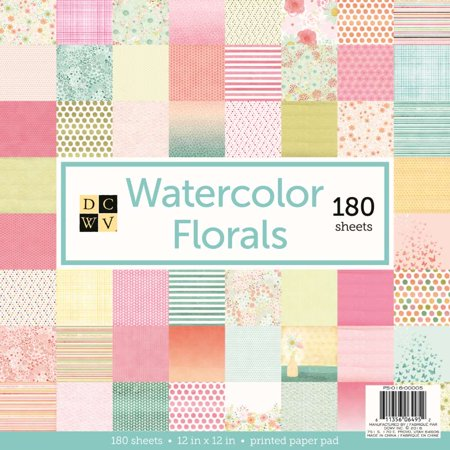 American Crafts DCWV Watercolor Florals Cardstock - Paper Crafting Supplies, Scrapbooking Embellishment - 180 - Owl Scrapbook Paper