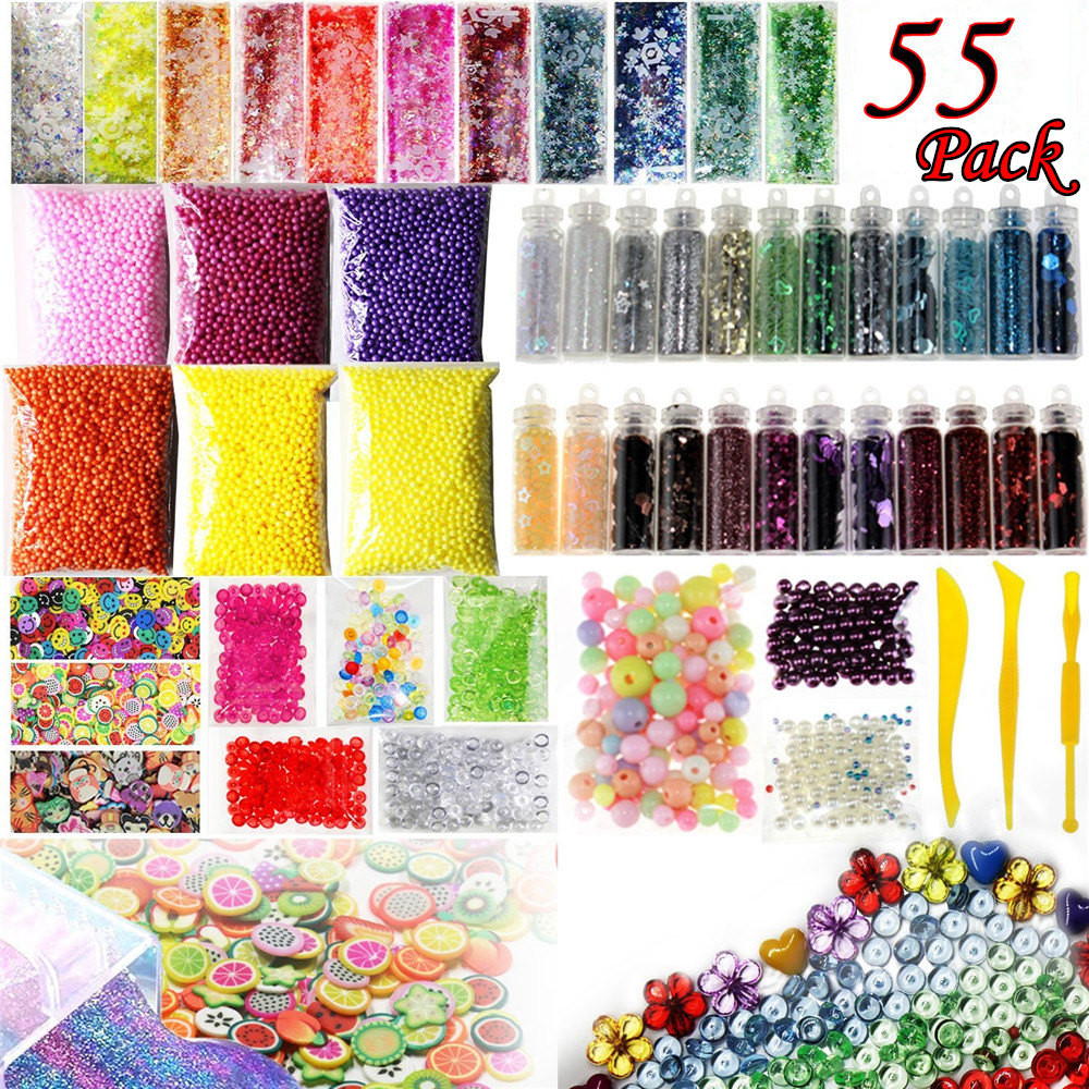Mosunx Slime Supplies Kit 55 Pack Slime Beads Charms Slime Tools For DIY Slime Making