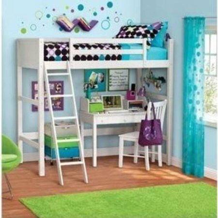 "Your Zone ZZZ Collection Loft Bed, Multiple Colors with Spa Sensations 6"" Memory Foam Comfort Mattress"