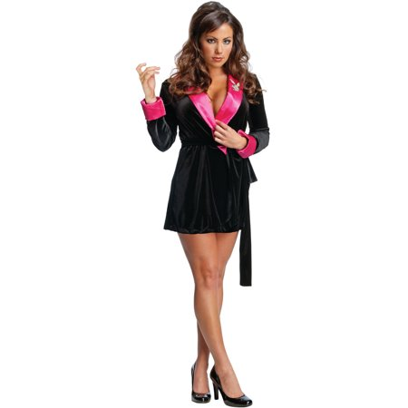 Women's  Adult Playboy Black and Pink Girlfriend Robe Costume - Playboy Robe