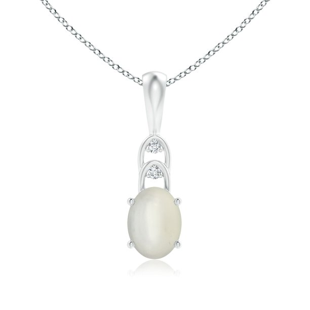Oval Moonstone Solitaire Pendant with Diamonds (8x6mm Moonstone) - SP1025MSD-8x6-AAA