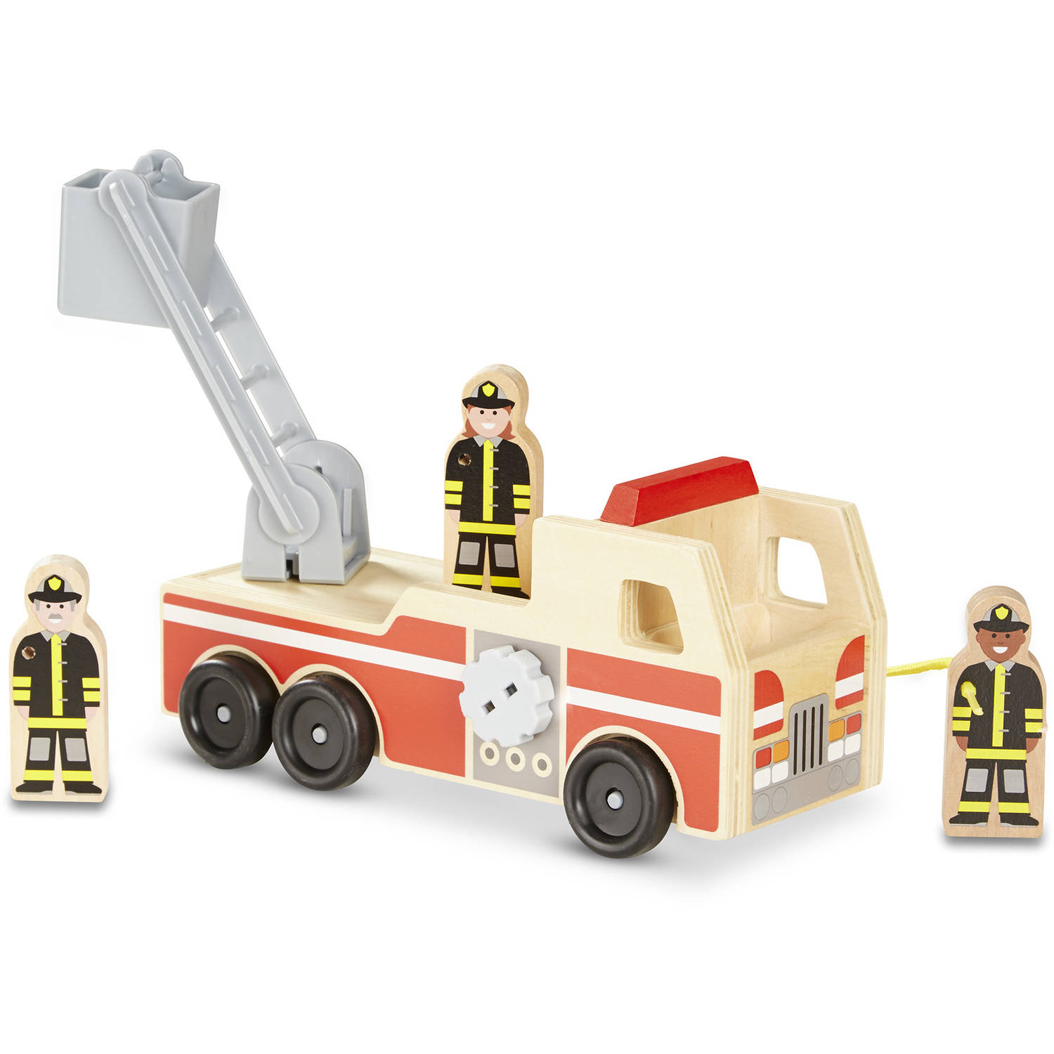 Melissa & Doug Wooden Fire Truck With 3 Firefighter Play Figures by Melissa %26 Doug