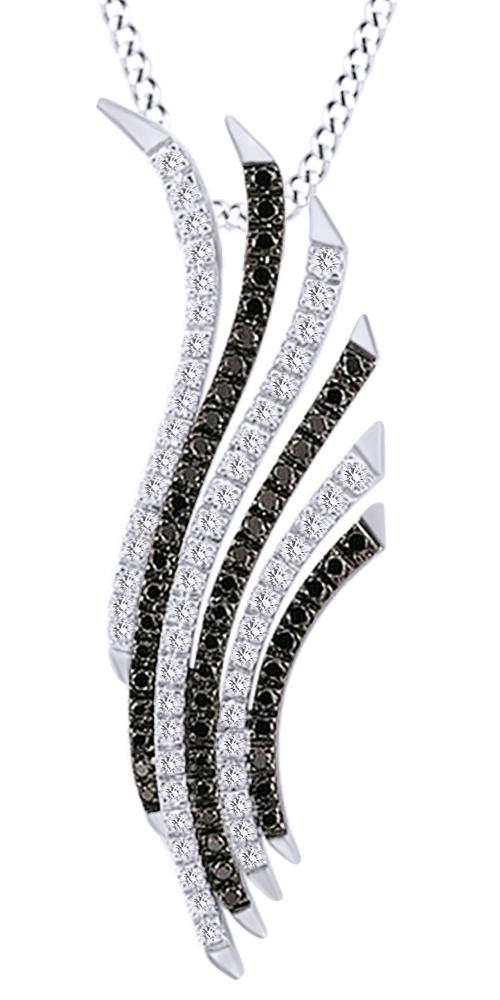 Women/'s 0.01 Carat Black Diamond Accent Flamingo Pendant Fashion Necklace
