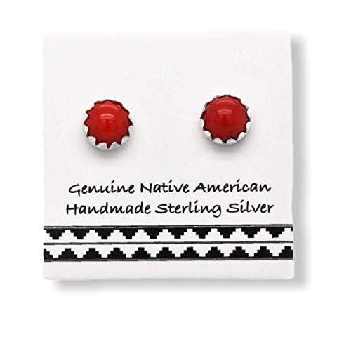 Genuine Red Coral and Pink Shell Stud Earrings in 925 Sterling Silver Nickle Free Native American USA Handmade Square