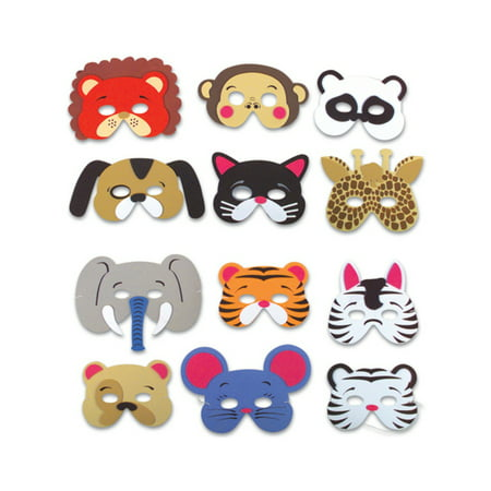 Set of 12 New Halloween Costume Party Foam Animal Masks - Mask At Party City