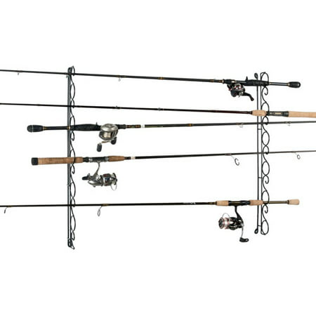 Three Rod Tournament Rack - Organized Fishing 9-Capacity Wire Horizontal/Ceiling Rod Rack