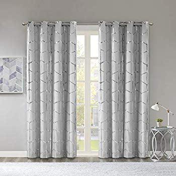 Raina Total Blackout Metallic Print Grommet Top Window Curtain Panel Thermal Insulated Light Blocking Drape For Bedroom Living Room And Dorm 50x84 Grey Silver Walmart Com Walmart Com