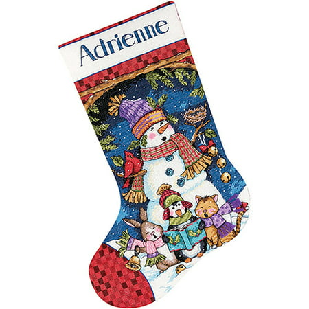 Cute Carolers Stocking Counted Cross-Stitch Kit, - Cross Stitch Christmas Stocking
