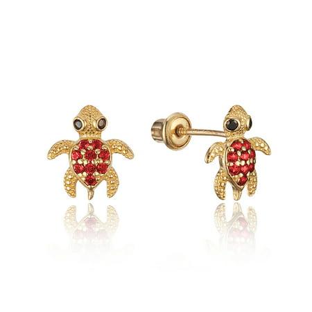 Baby Turtle Earrings - 14k Yellow Gold Red Turtle Cubic Zirconia Children Screwback Baby Girls Stud Earrings